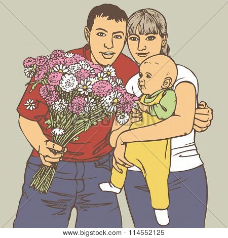 Family With A Bunch Of Flowers