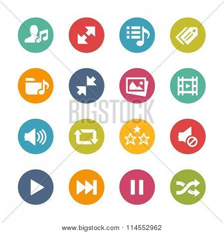 Web and Mobile Icons 7 // Fresh Colors Series ++ Icons and buttons in different layers, easy to change colors ++