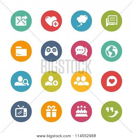 Social Communications Icons // Fresh Colors Series ++ Icons and buttons in different layers, easy to change colors ++