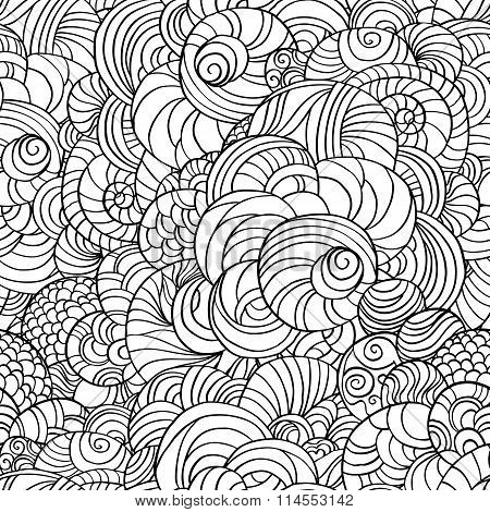 Vector abstract circles seamless pattern background. Hand sketch style pattern on black and whit col