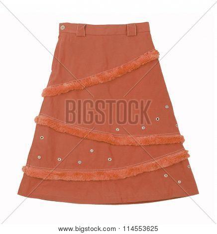 orange skirt isolated on white background