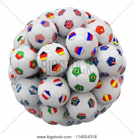 Soccer balls with nations teams flags