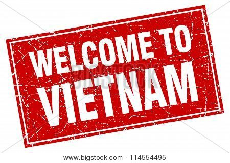 Vietnam Red Square Grunge Welcome To Stamp