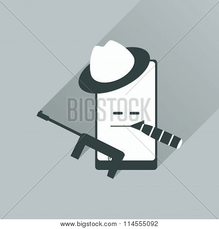 Flat web icon with long shadow mobile bandit
