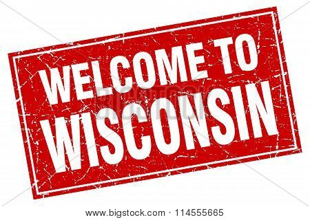 Wisconsin Red Square Grunge Welcome To Stamp