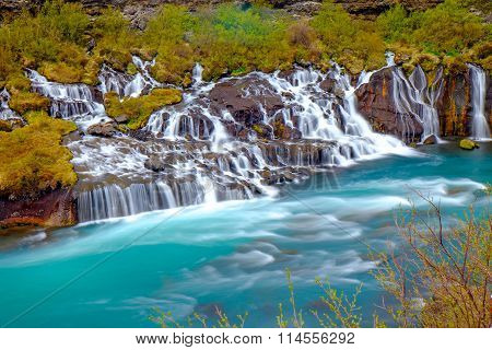 The tiny Hraunfossar falls, Iceland