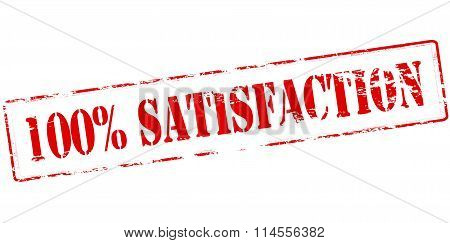 Rubber stamp with text one hundred percent satisfaction inside vector illustration