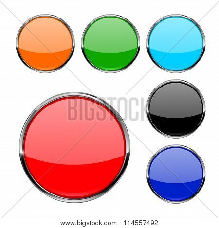 Buttons. Shiny Glass Round Button With Metal Frame.