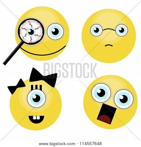 Set of funny smiles. vector