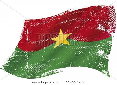 Burkina Faso grunge waving Flag . A grunge flag of  Burkina Faso in the wind for you
