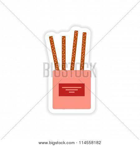 stylish paper sticker on white background cheese sticks