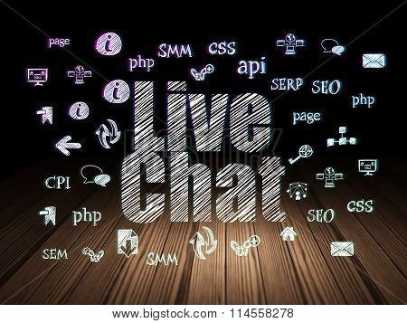 Web design concept: Live Chat in grunge dark room
