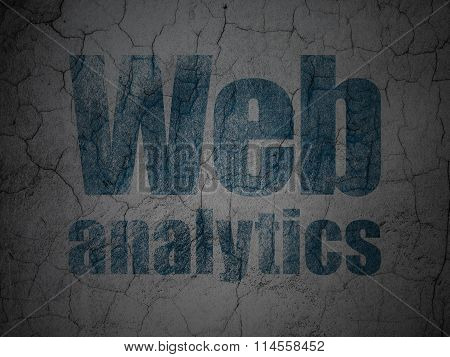 Web development concept: Web Analytics on grunge wall background