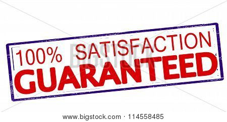 Rubber stamp with text one hundred percent satisfaction guaranteed inside vector illustration