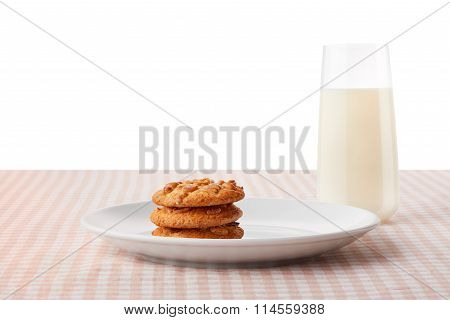 Peanut Butter Cookies On Plate And Glass Of Milk