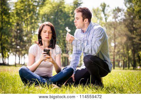 Interruption, man attracts attention