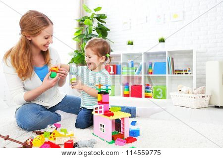 Mother And Child Daughter Playing, Build From Constructor