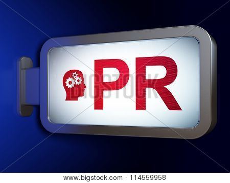 Advertising concept: PR and Head With Gears on billboard background