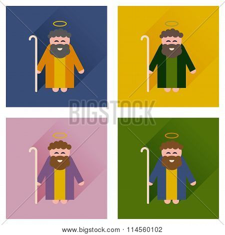 Concept of flat icons with long shadow Father Jesus Christ