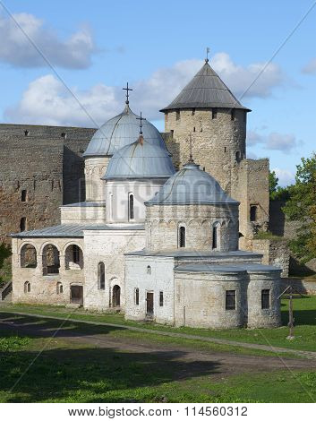 Medieval churches on the background of the towers. Ivangorod