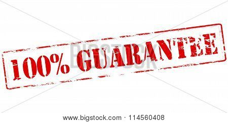 Rubber stamp with text one hundred percent guarantee inside vector illustration