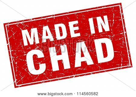 Chad Red Square Grunge Made In Stamp