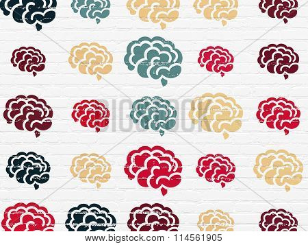 Healthcare concept: Brain icons on wall background
