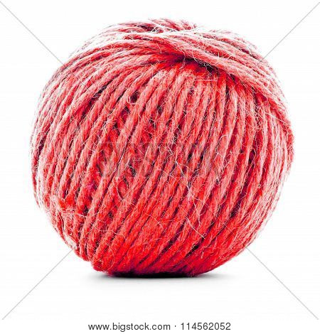 Red Wool Skein, Knitting Thread Roll Isolated On White Background