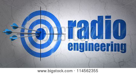 Science concept: target and Radio Engineering on wall background
