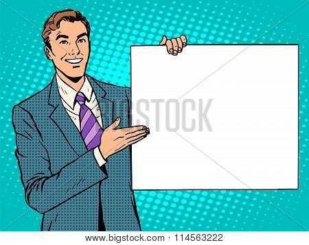 businessman advertising announcement your brand here