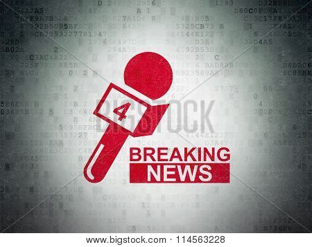 News concept: Breaking News And Microphone on Digital Paper background