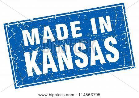 Kansas Blue Square Grunge Made In Stamp