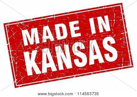 Kansas Red Square Grunge Made In Stamp