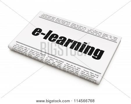 Learning concept: newspaper headline E-learning