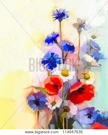 Oil Painting Red Poppy Flowers, Blue Cornflower And White Daisy