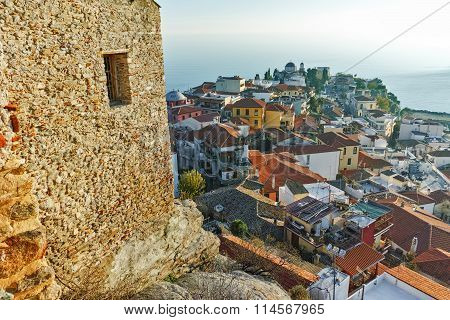 Panoramic view to old town of Kavala, East Macedonia and Thrace