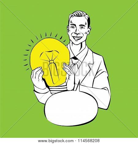 man holding lamp - idea retro comic style illustration