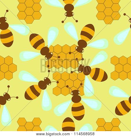 pattern with bees and honeycombs
