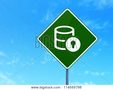 Database concept: Database With Lock on road sign background