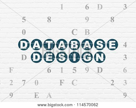 Software concept: Database Design on wall background