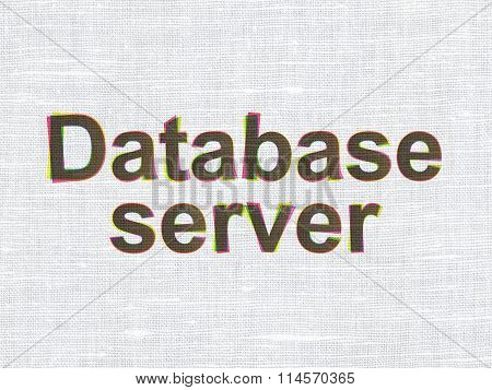 Software concept: Database Server on fabric texture background