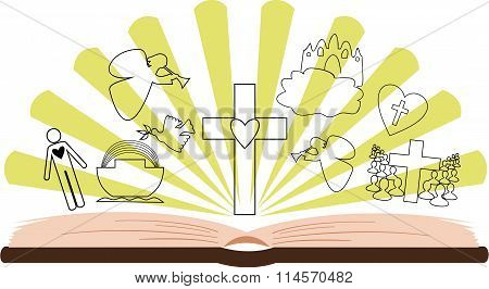 open Bible with different pictures and rays