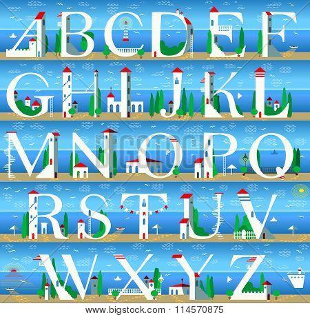 Summer Alphabet. Cute Sea Town