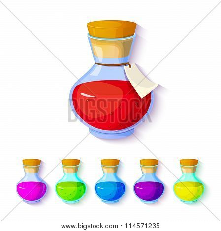Set of elixirs icon vector illustration