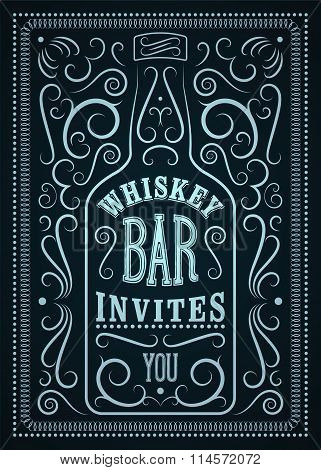 Typographic retro design Whiskey Bar poster. Vintage label with stylized whiskey bottle. Vector illu