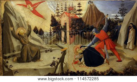 ZAGREB, CROATIA - DECEMBER 08: Fra Angelico: The stigmatization of St. Francis of Assisi and death of St. Peter Martyr, Old Masters Collection, Croatian Academy of Sciences, December 08,2014 in Zagreb