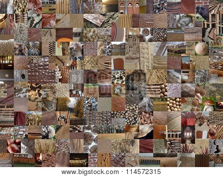 brOwN patchwork photo montage background