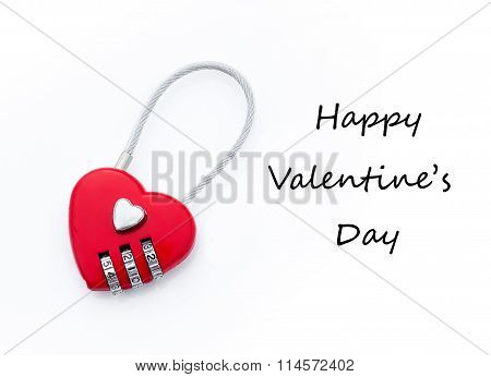 Heart-shaped Lock and greeting text for Valentine's Day