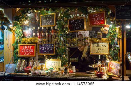 TALLINN, ESTONIA - DECEMBER 24: Hot mulled wine for sale at the Christmas Fair on December 24, 2015 in Tallinn, Estonia
