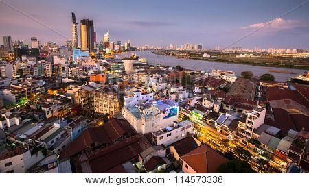 HO CHI MINH CITY, VIETNAM - JAN 13, 2016: Top view of Ho Chi Minh City (Saigon) at night time. Is located in the South of Vietnam, is the country's largest city, population 8 million.